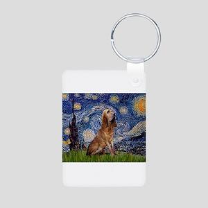 Starry Night Bloodhound Aluminum Photo Keychain