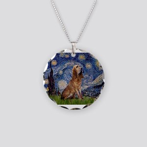Starry Night Bloodhound Necklace Circle Charm