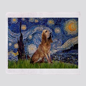 Starry Night Bloodhound Throw Blanket