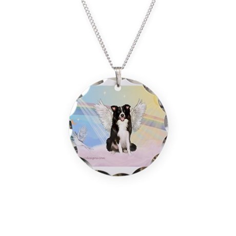 Border Collie Angel Necklace Circle Charm