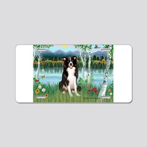 Birches / Border Collie Aluminum License Plate