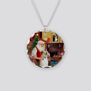 Santas Borzoi Necklace Circle Charm