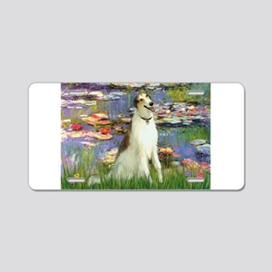 Borzoi in Monet's Lilies Aluminum License Plate