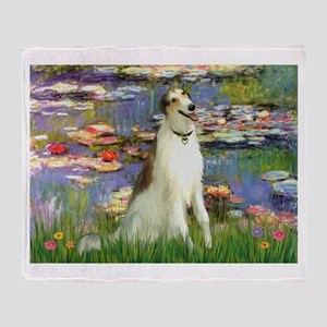 Borzoi in Monet's Lilies Throw Blanket