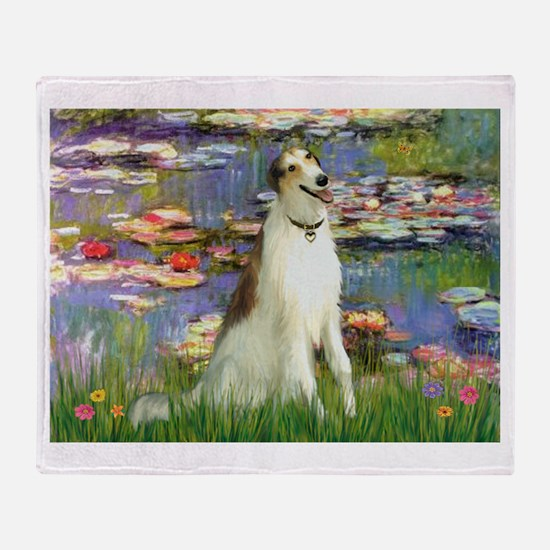 Borzoi in Monet's Lilies Throw Blanket