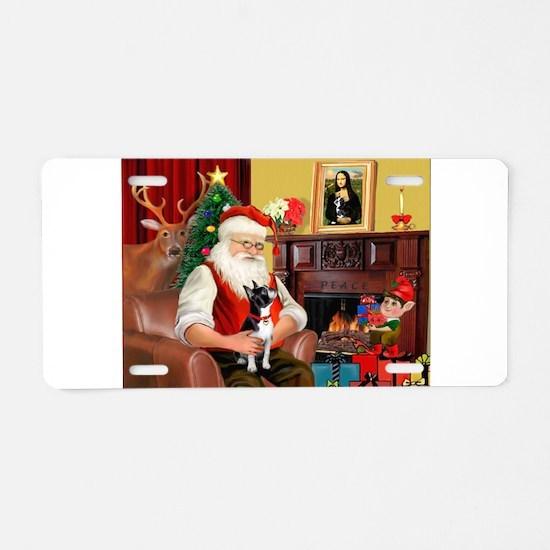 Santa's Boston Terrier Aluminum License Plate