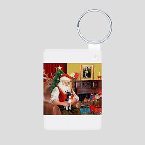 Santa's Boston Terrier Aluminum Photo Keychain
