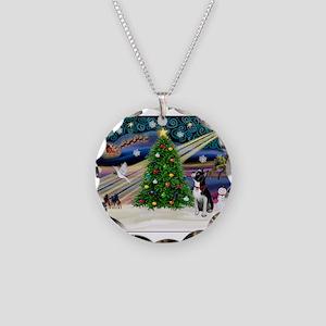 Xmas Magic/Boston Terrier Necklace Circle Charm