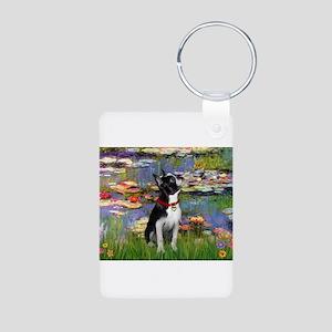 Lilies /Boston Terrier Aluminum Photo Keychain