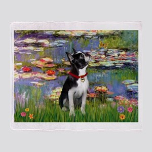 Lilies /Boston Terrier Throw Blanket