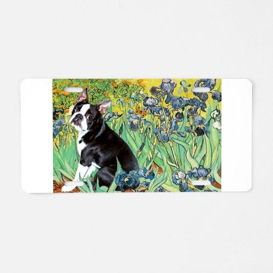 Irises & Boston Terrier Aluminum License Plate