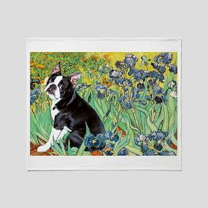 Irises & Boston Terrier Throw Blanket