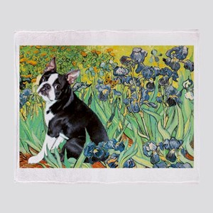 Irises & Boston Terrier Throw Blanket