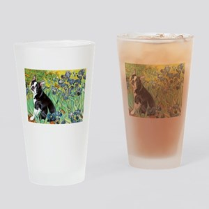 Irises & Boston Terrier Drinking Glass