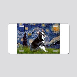 Starry Night/Boston Terrier Aluminum License Plate