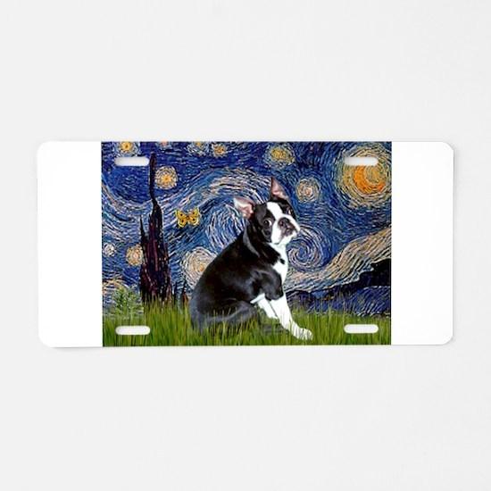 Starry Night/Boston Terrier Aluminum License Plate