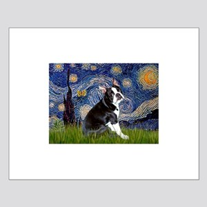 Starry Night/Boston Terrier Small Poster