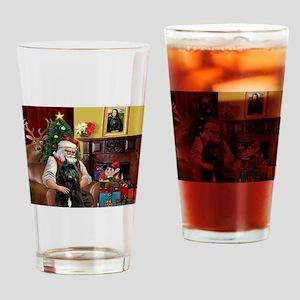 Santa's Bouvier Drinking Glass