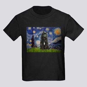 Starry Night Bouvier Kids Dark T-Shirt