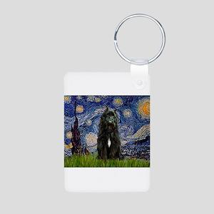 Starry Night Bouvier Aluminum Photo Keychain