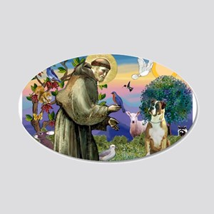Saint Francis & Boxer 20x12 Oval Wall Decal