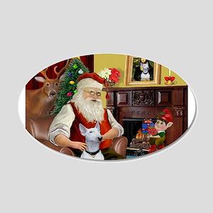 Santa's Bull Terrier 20x12 Oval Wall Decal