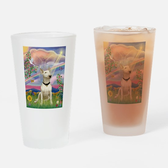 Cloud Angel/Bull Terrier Drinking Glass