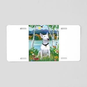 Birches / Bull Terrier Aluminum License Plate