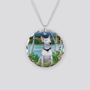 Birches / Bull Terrier Necklace Circle Charm