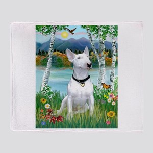 Birches / Bull Terrier Throw Blanket
