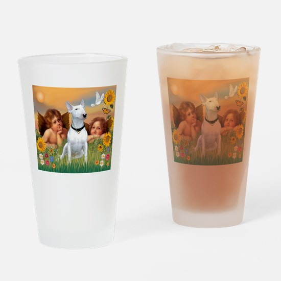 Cherubs / Bull Terrier Drinking Glass