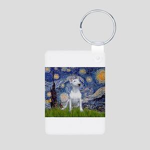 Starry Night/Bull Terrier Aluminum Photo Keychain