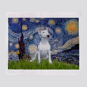 Starry Night/Bull Terrier Throw Blanket