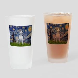 Starry Night/Bull Terrier Drinking Glass