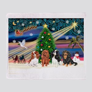 XmasMagic/4 Cavaliers Throw Blanket