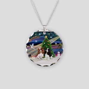 XmasMagic/2 Cavaliers Necklace Circle Charm