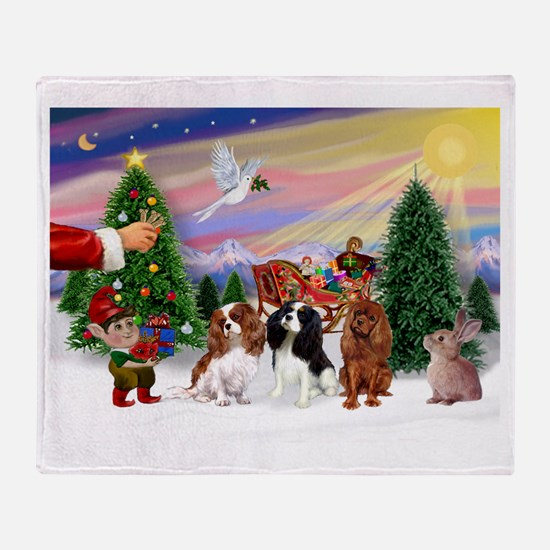 Treat for 3 Cavaliers Throw Blanket