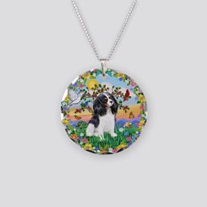 Flower Wreath - Tri Cavalier Necklace Circle Charm