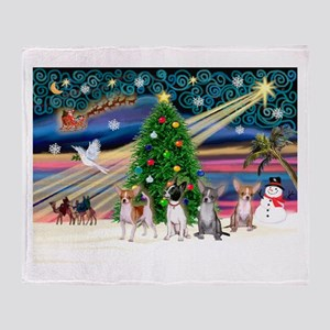 XmasMagic/Chihuahuas Throw Blanket