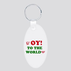 Oy to the World! Aluminum Oval Keychain