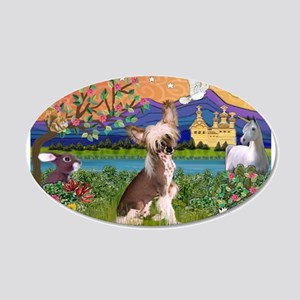 Chinese Crested Fantasyland 20x12 Oval Wall Decal