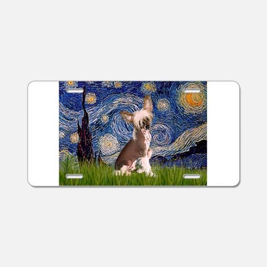 Starry Night/Chinese Crested Aluminum License Plat