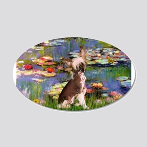 Lilies/Chinese Crested 22x14 Oval Wall Peel