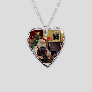 Santa's Black Cocker Necklace Heart Charm