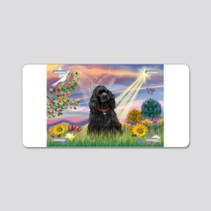 Cloud Angel/Black Cocker Aluminum License Plate