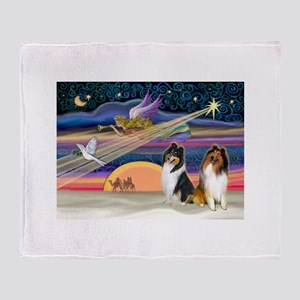 XmasStar/2 Collies Throw Blanket