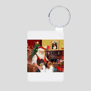 Santa's Collie pair Aluminum Photo Keychain