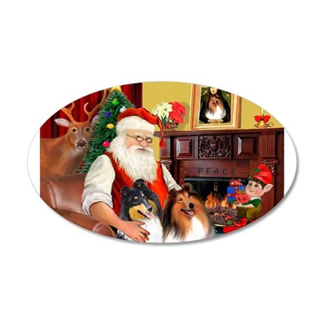 Santa's Collie pair 22x14 Oval Wall Peel