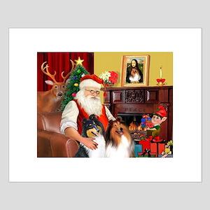Santa's Collie pair Small Poster