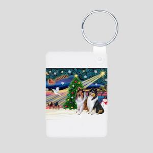 Xmas Magic & Collie Aluminum Photo Keychain